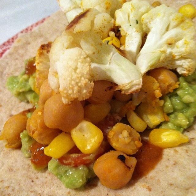 Roasted Cauliflower & Chickepea Burritos