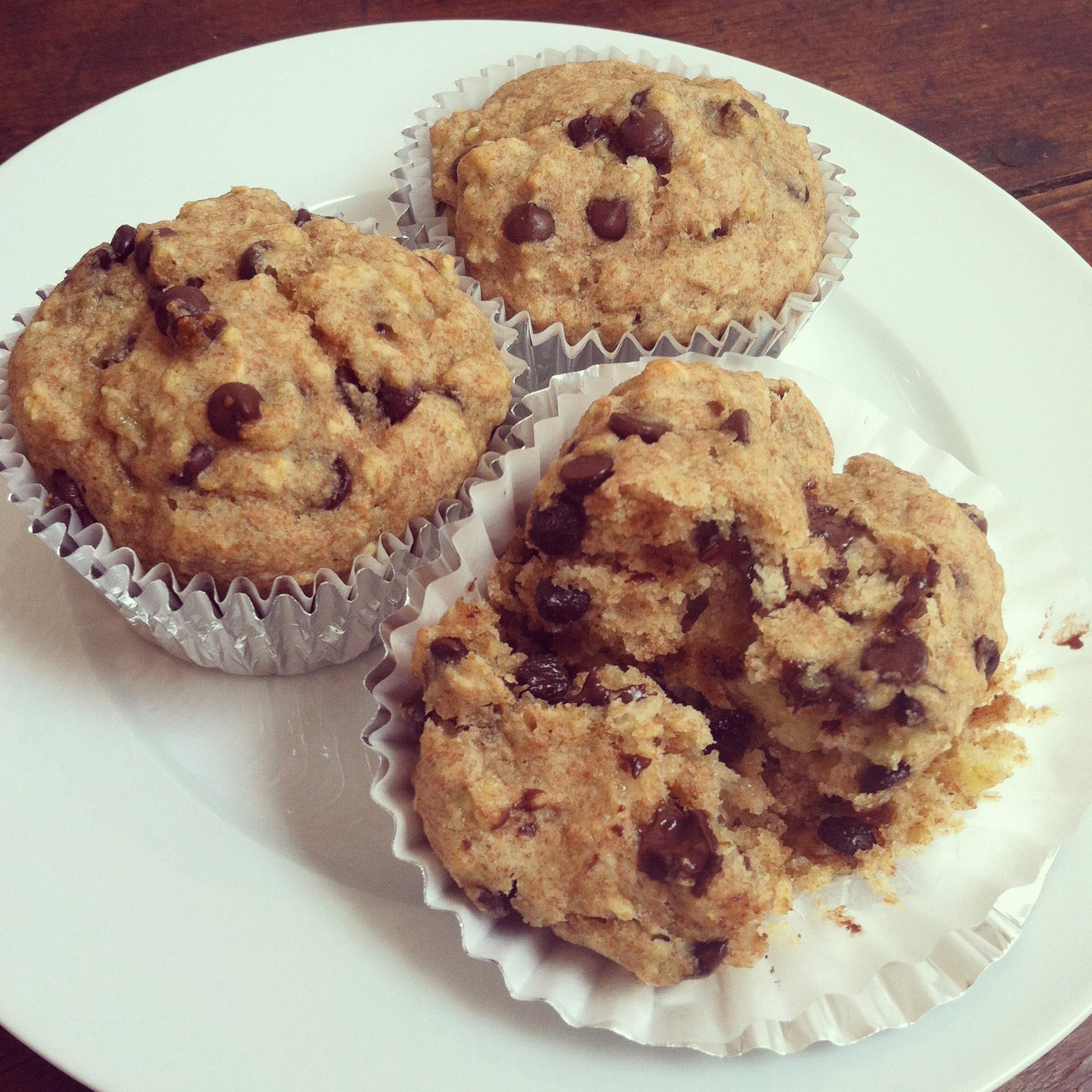Vegan Spelt Banana Chocolate Chip Muffins