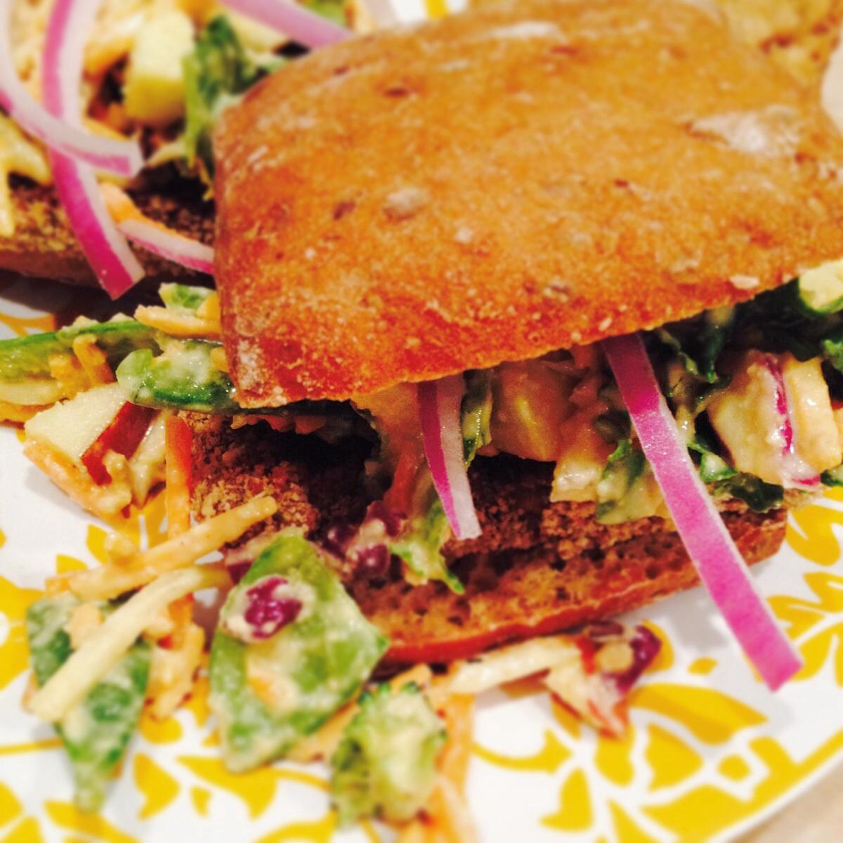 Vegan Breaded BBQ Tofu & Apple Cheddar Slaw
